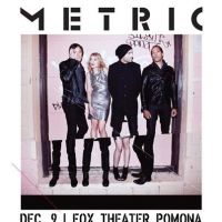 Win Tickets: Metric @ Fox Theater – Pomona, CA – 12/9/12