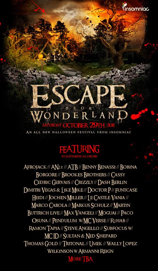 event guide escape from wonderland 2011 nos event center 10 29 11